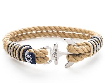 ae6a76231e71 Ancla Shackle cuerda Marina pulsera náutica Ahava clásico beige y Regalo  retorcido para ella para él aniversario cumpleaños pareja de Navidad