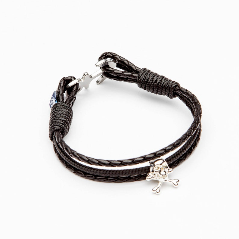 Pirate Black Leather Anchor Nautical Bracelet CAPTAIN men jewelry jewellery Christmas gift Father/'s Day Valentine/'s Day for him boyfriend