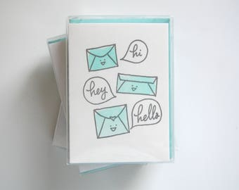 hi, hey, hello // Pack of 6 // letterpress printed greeting cards with envelopes