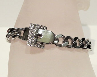 Belt Buckle Chain Bracelet With Rhinestone Details
