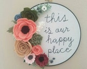 felt floral hoop art gallery wall housewarming gift embroidery holiday gift