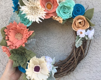 Spring Felt flower wreath/spring/wreath/twig wreath/blue/pink/white/flowers/felt flower wreath