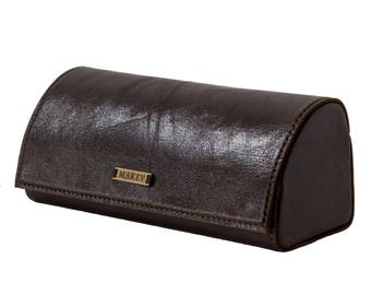 Brown  100% leather case Eyeglasses case Leather Sunglass Case  Glasses Case  Leather Case Glasses Protector   Sunglasses Case