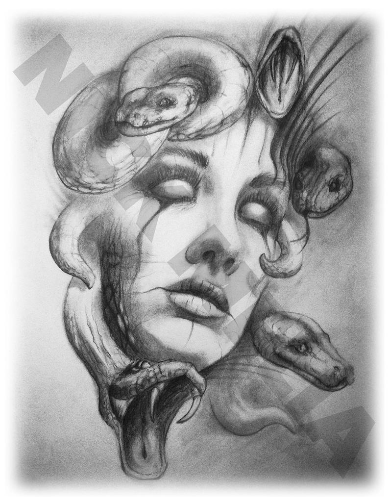 Medusa art pencil drawing mythology print