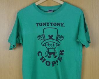 Vintage T Shirt One Piece Tony Tony Chopper Green Color Nice Sweatshirt Cartoon Shirt