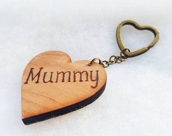 Mother's day gift, Wooden keyring, personalised keyring, love heart keychain, gift for mum, photo keyring, pyrography, nana keychain