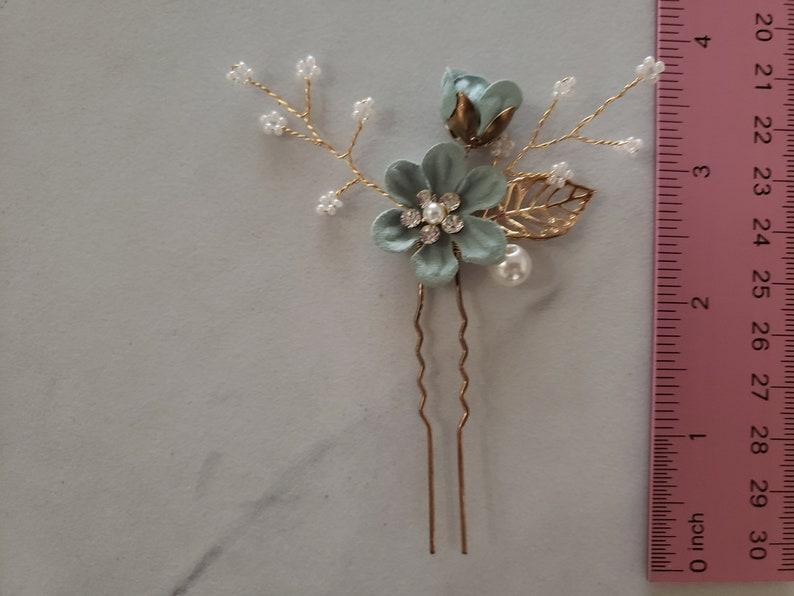Pearl Crystal Flower Wedding Hair Pins Bridal Hair Pins Hair Jewelry Hair Vine Wedding Hair Accessory,Sea Foam Green and Gold Hair Pieces