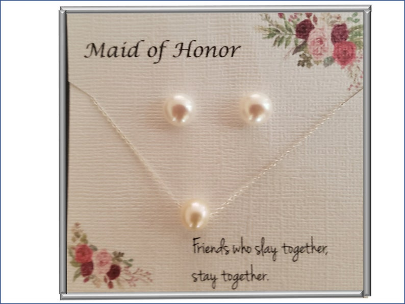 Maid of Honor Gift Pearl Necklace with Pearl Stud Earrings Gift Set Wedding Jewelry Pearl Necklace /& Earrings Set MOH Gift
