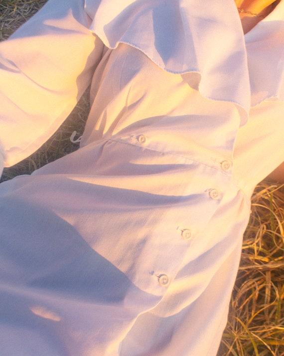 Vintage White Cotton Button Up Nurses Dress with … - image 10