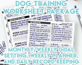 Printable Dog Training Planner and Record Keeping Worksheets! Instant Download PDF Dog Training Plan, Training Log, Training Chart