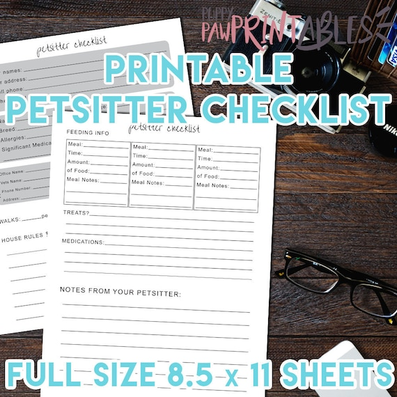 Pet Care Printable Petsitter Checklist Sheets For One Or Etsy