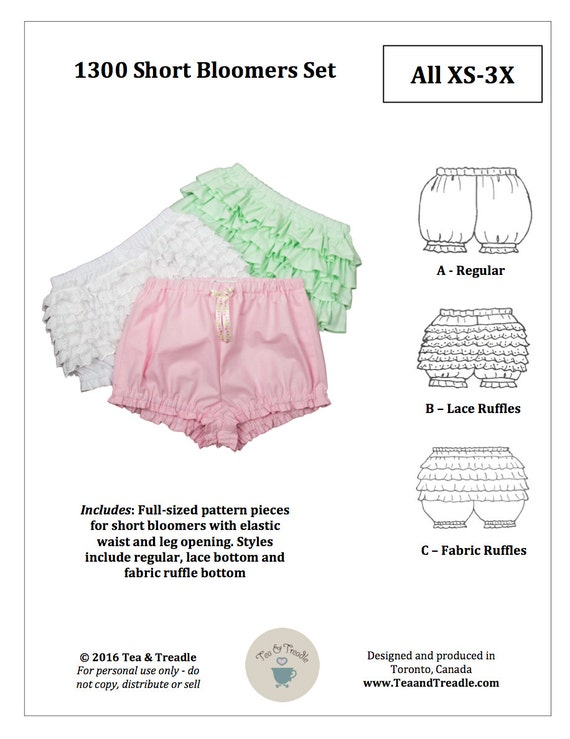 PDF-Lolita Schnittmuster 1300 kurze Bloomer Set Größen XS-3 | Etsy