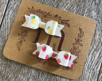 Fruit Faux Leather Emma Bows - Lemons and Strawberries