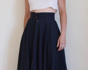 Dark navy blue high waist skirt, brown leather buttons, vintage handmade 1970s, small, full skirt, circle skirt