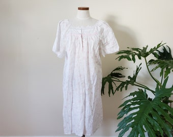 outer nightwear white lace large short sleeve 1990s pink rose and white stripe light housecoat