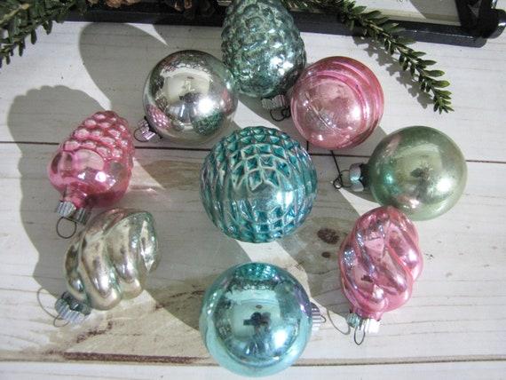 Pastel Christmas Ornaments.Vintage Shiny Brite Christmas Ornaments Pastel Pink Blue Green Small Bumpy Cluster Swirly Shapes Round Set Of Nine Winter Wedding Decor
