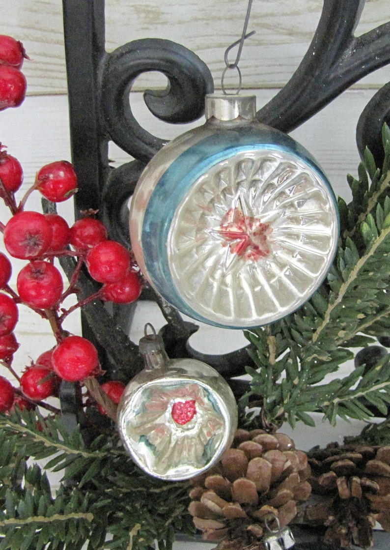 Vintage Mercury Poland Christmas Ornaments~Blue Silver Purple Red ~ Round and Atomic Star Indent Reflector~Winter Wedding Decor~Hand Painted