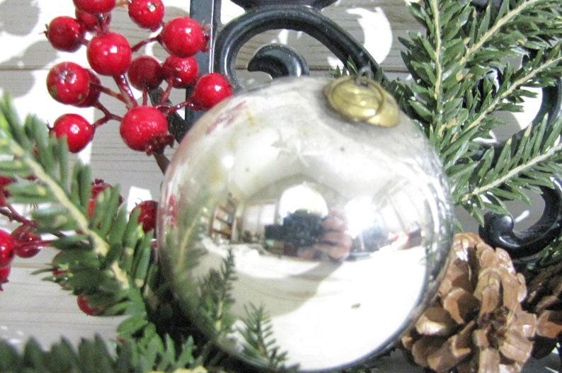 Antique Silver Kugel Christmas Ornament Large Round Vintage Holiday Bauble Rustic Farmhouse Decor Winter Wedding Gift Country