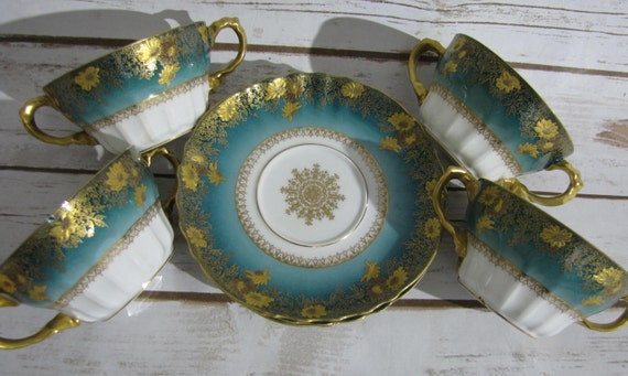 Suppentasse Seladon blau rot gold Raynaud Limoges