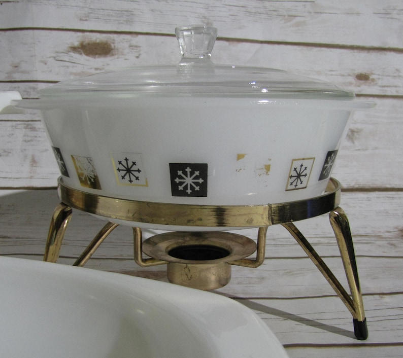 Vintage Pyrex Golden Honeysuckle Promo Casserole Dish~ White Milk Glass Divided Vegetable  Inland Glass Round Atomic w Lid and Gold Stand ~