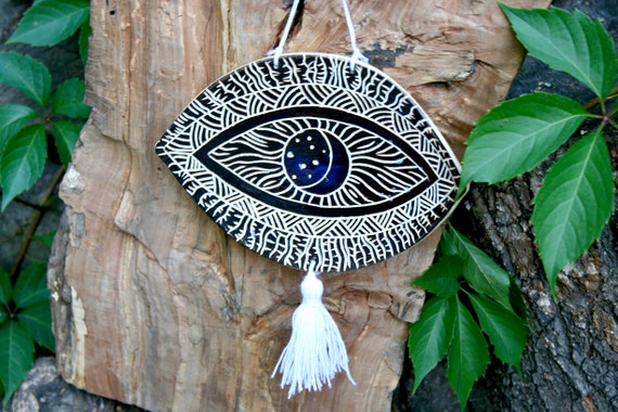 Wall hanging black ceramic evil eye Protection talisman amulet Greek evil  eye lucky charm Jewelry holder decorative plate Incense holder