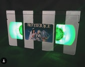 Retro VHS Lamp Beetlejuice with Stripe Design Night Light Table Lamp, Horror 80s Movie . Order any movie! Man Cave. Birthday Day Gift.