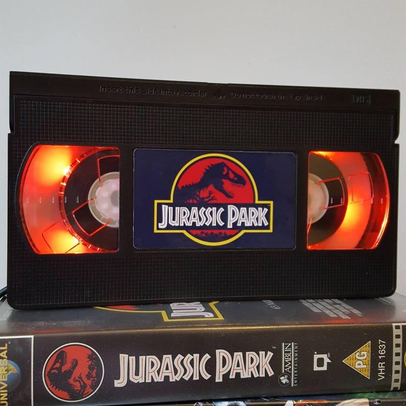 Retro VHS Lamp Jurassic Park Jurassic World Night Light 90s image 0