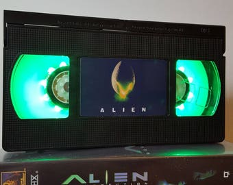 Retro VHS Lamp Alien Scifi Night Light Table Lamp, Horror Movie . Order any movie! Great personal gift. Man Cave. Office. Mothers Day