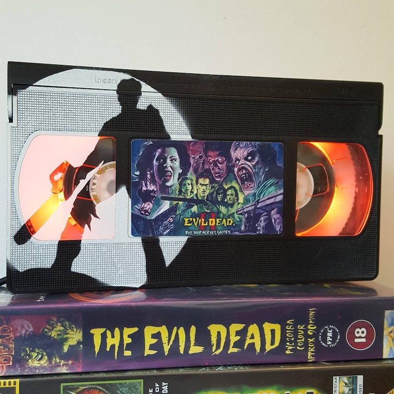 Retro VHS Lamp The Evil Dead with Ash Art Horror 80s Night Light Table Lamp  Movie  Order any movie! Man Cave  Great Birthday Gift