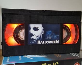 Retro VHS Lamp Halloween Horror Night Light Table Lamp. Order any movie, series, or actor! Man Cave, Bedroom. Awesome Halloween .