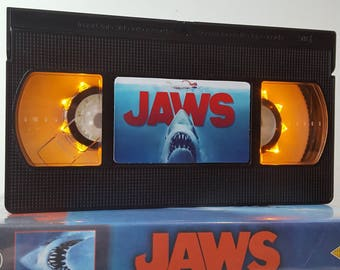 Retro VHS Lamp Jaws Night Light Table Lamp, Horror Movie. Order any movie! Man Cave, Bedroom, Office. Awesome Mothers Day Gift. Wedding.