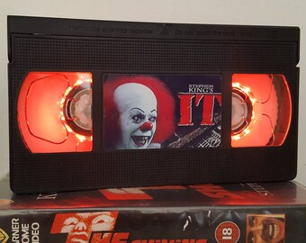Retro VHS Lamp IT by Stephen King Night Light Table Lamp, Horror Movie. Order any movie! Man Cave, Display. Awesome Mothers Day gift .