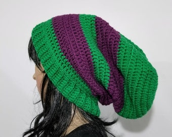 Handmade Crochet Green and Purple Striped Soft Unisex Adult Slouchy Beanie, Hat, Cap, Winter Accessory