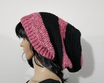 Handmade Crochet Black and Pink Toned Unisex Adult Size Slouchy Beanie, Hat, Cap, Winter Accessory