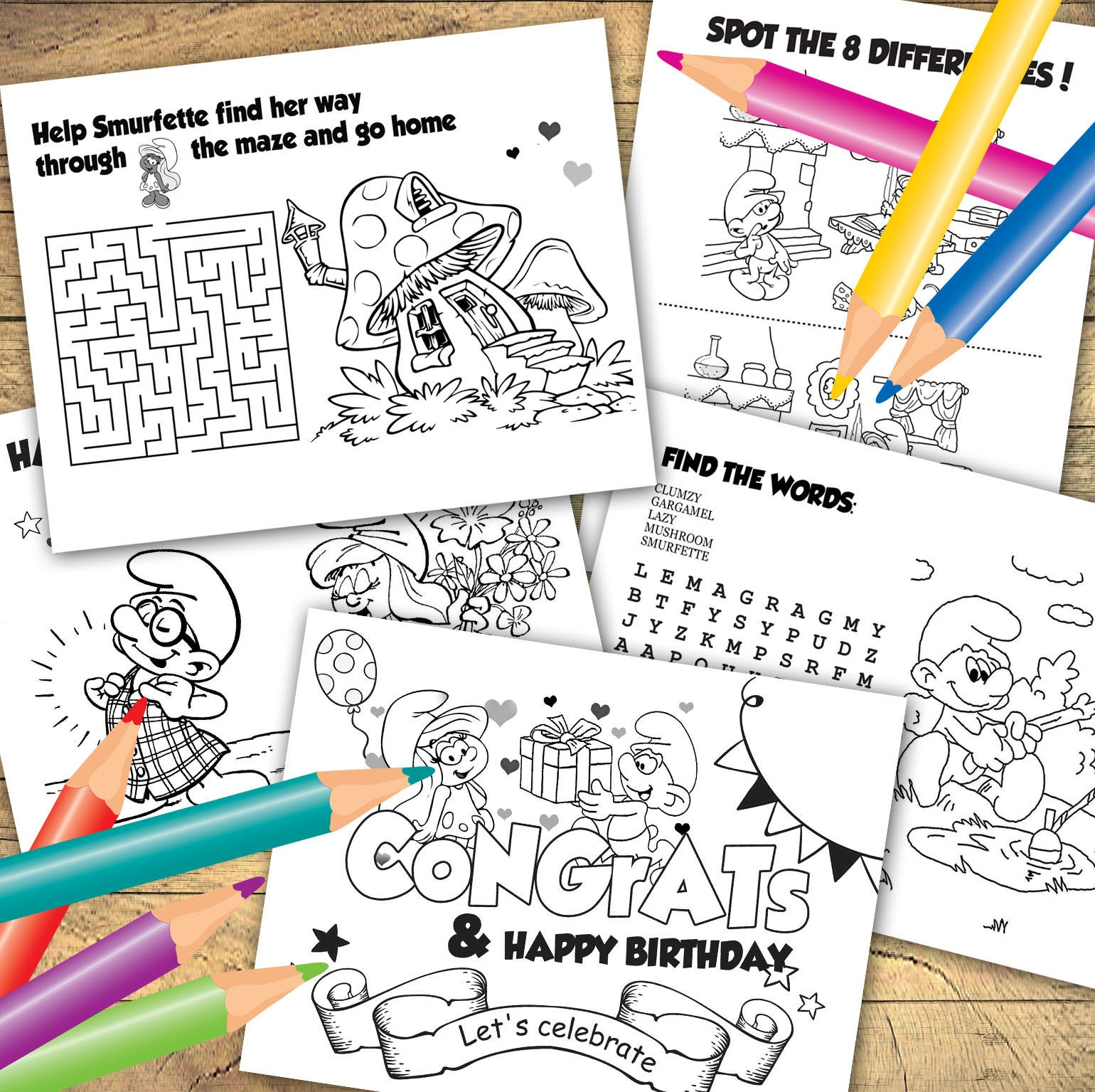 INSTANT DOWNLOAD Smurfs Coloring pages 6 sheets Smurfs | Etsy