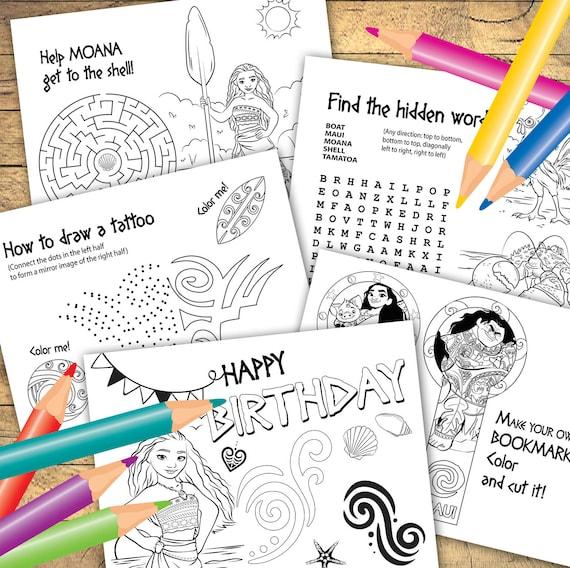 DESCARGAR instantánea páginas de colorear de Moana 6 hojas | Etsy