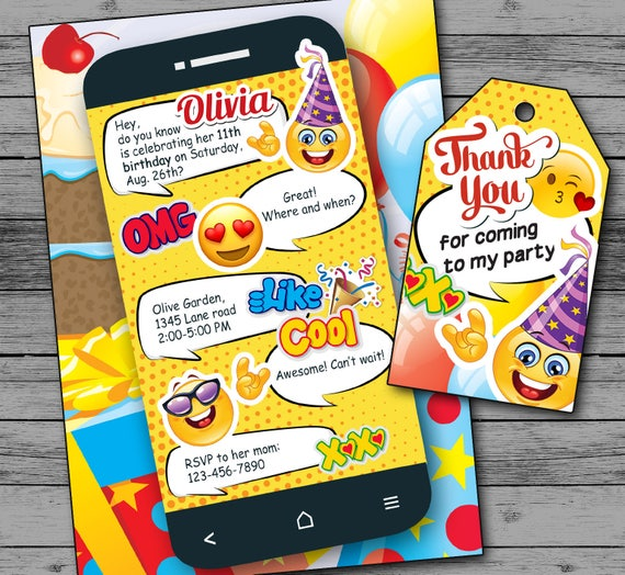 emoji invitations digital emoji birthday invitations etsy