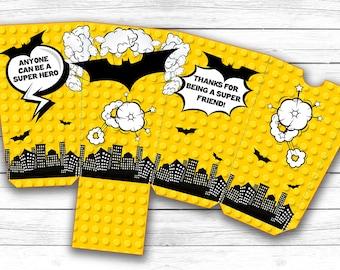 INSTANT DOWNLOAD, Lego Batman popcorn boxes, Foldable PDF Lego Batman boxes, Lego Batman birthday party favor box, Batman treat box
