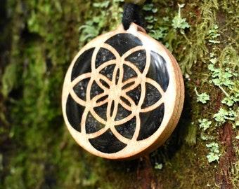 Seed of Life Pendant - Necklace with Black Tourmaline & Labradorite