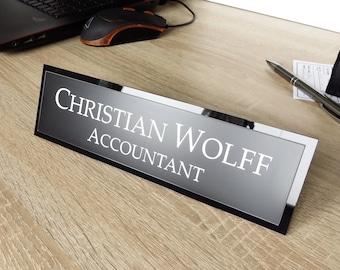 Executive Personalised Desk Name Plate, Custom Engraved Desk Sign, Plaque, Office, Black Granite Office Sign.