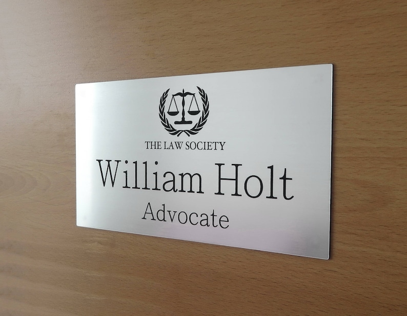 Custom Engraved Office Sign Personalised Door Office Sign Silver Brushed