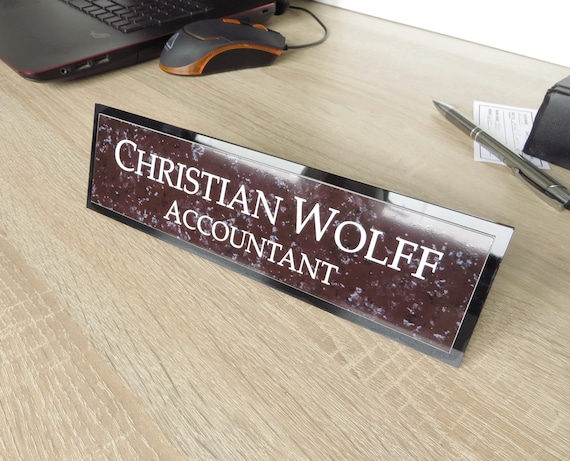 Executive Personalised Desk Name Plate, Custom Engraved Desk Sign, Plaque,  Office Sign, Red Granite Looks.
