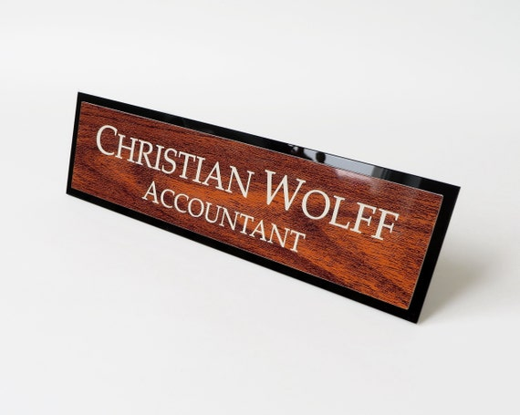 Beau Executive Personalised Desk Name Plate, Custom Engraved Desk Sign, Plaque,  Office Sign, Mahogany Looks.