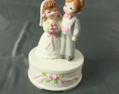 Vintage Norcrest Japan Ceramic Music Box Wedding Bride and Groom