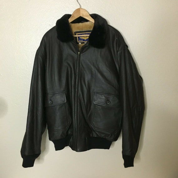 Navy Airborne Leather Bomber Flight Jacket Brown T