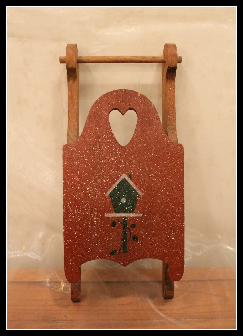 Rustic Wooden Sled With Wooden Heart Cutout And Painted Birdhouse Farmhouse Decor Country Chic Decor Shabby Chic Decor