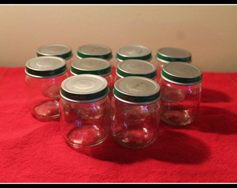 Lot of 10 Clean and Label Free Beech Nut 4 Ounce Baby Food Jars With Lids, Craft Jars, Organization Jars, Glass Jars, Storage Containers