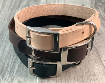5/8 inch Light Weight Soft Leather Collar