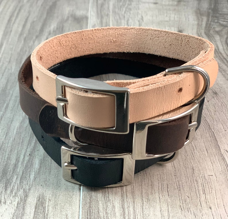 5/8 inch Light Weight Soft Leather Collar image 1