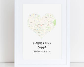 Personalised Map Print- Engagement, Wedding Gift or Memory.